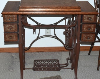 "Antique ""Free"" Treadle Sewing Machine Cabinet"