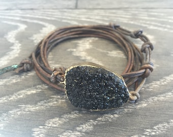 Black Druzy and Leather Wrap Bracelet