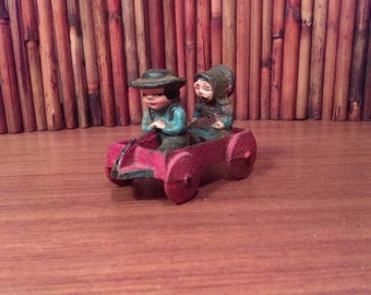 Vintage Wilton Cast Iron Amish Children In Wagon Toy,Figurine,Collectible,Painted,  great vintage condition!