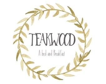 Premade watercolor wreath logo, photography logo, shop logo, boutique logo, custom logo