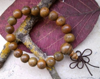 Sandalwood beads mala prayer bracelet, Bangle, bracelet
