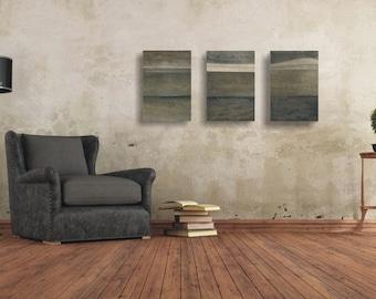 SALE - 30 %  Triptych Art Set, Triptych in Grey, Modern Wall Art