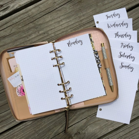 Daily On Grid  Printed Planner Inserts Monday-Sunday