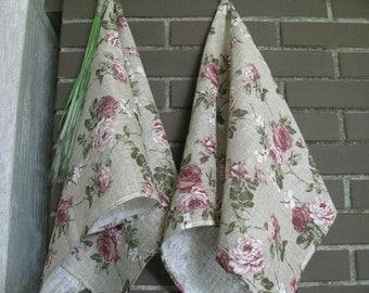 Floral Linen Towel Guest Towel Tea Towel Hand Towel