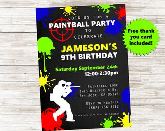Paintball Invite Invitation Battle Gun 5x7 Invite Kids Birthday Party Digital Personalized
