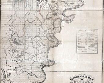 1841 Map of Concordia County Louisiana