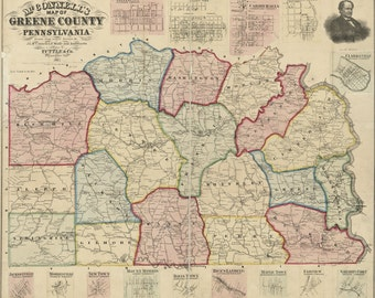 1865 McConnells Map of Greene County Pa Canvas Print Fine Art