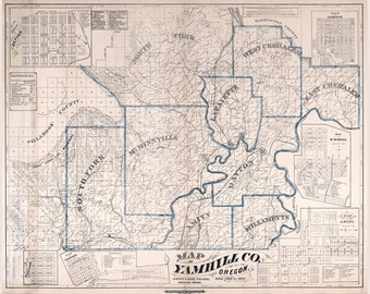 1879 Map of Yamhill County Oregon