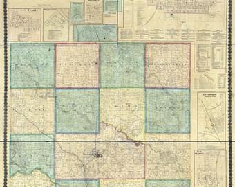 1871 Map of Mahaska County Iowa Oskaloosa