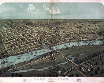 1867 Panoramic Map of East Saginaw Michigan