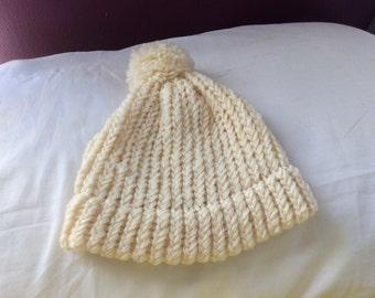 Beige handmade Winter Hat