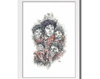 Michael Jackson (Thriller) - Music Print Poster Portrait Collage Black and White Art Drawing Illustration Instand Download