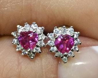 Sterling Silver Pink Sapphire & Zircon Stones Heart Earrings