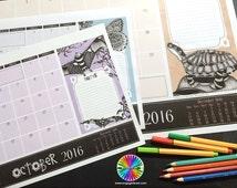 A3 Zentangle Desk Planner 2016 - Tangled Aussie Animals - Zentangle-inspired Calendar