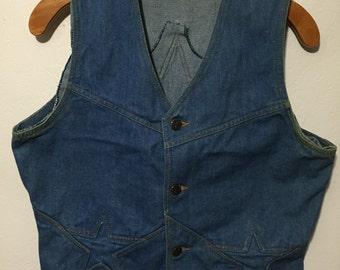 80's vintage denim vest star size M