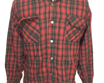 60's vintage penny's towncraft red plaid wool shirt mens size large