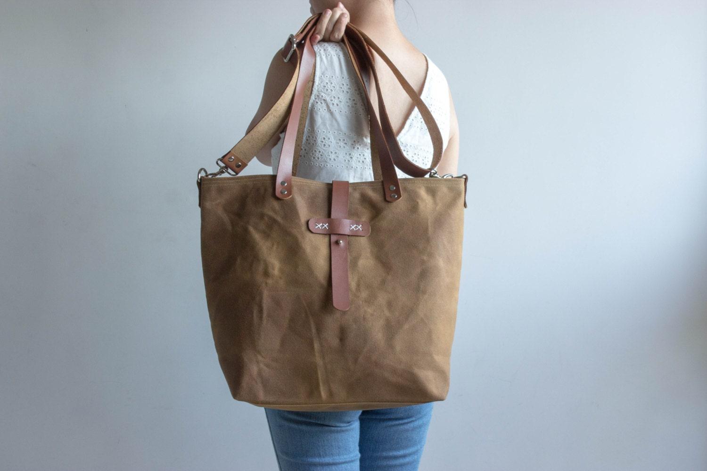 Waxed Canvas Bag Waxed Canvas Tote Waxed Canvas Handbag