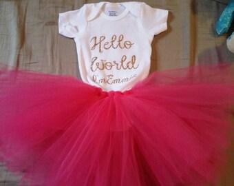 Hello world tutu set, newborn tutu set, onesies tutu set