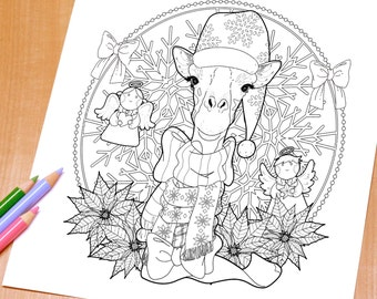 Lovely Giraffe - Adult Coloring Page Print