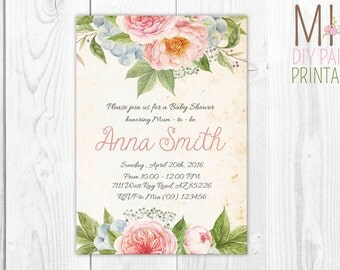 FLowers Baby Shower Party Invitation 2,Floral Baby Shower Invitation,Flower Baby Shower Invites,Baby Shower Invite,Shabby Chic Baby Shower