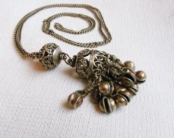 Vintage Kuchi Brass Filigree Bells Pendant/ Yemeni Kuchi Necklace/ Brass Filigree Necklace/ Ethnic Jewelry