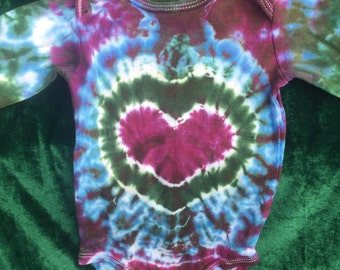 Baby Tie Dye 3 Month Onesie with Heart Design - Free Shipping