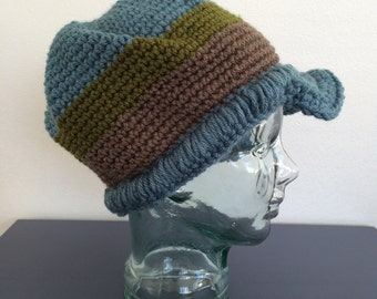 Crochet Beanie Hat with a Bill