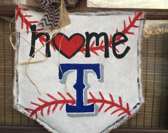 One Baseball/Tball/Softball burlap door hanger
