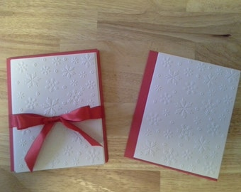 8 Embossed Christmas Cards,  White Embossed Snowflake Christmas Card Set, Winter Note Card, Greeting Cards.