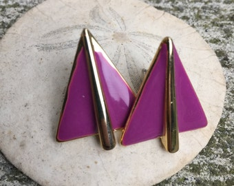 Gold and Purple Triangle Stud Earrings