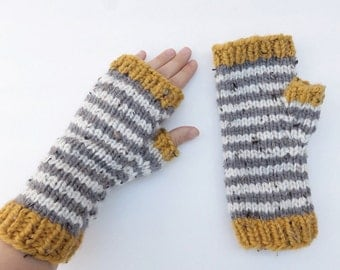 Fingerless Mitts, gloves, mittens, stripes, tweed, handknit