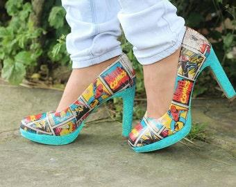 Marvel comic heeled shoes