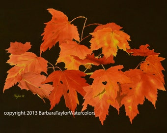 Autumn Leaves Fine Art Watercolor Print