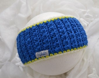 Headband elettric blue, white and fluorescent yellow Papilau
