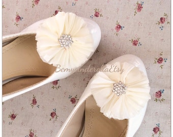 Ivory Bridal shoes clips wedding shoes clips fabric flower shoes clips
