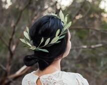 Olive branch flower crown,floral crown,olive leaves,wedding headpiece,bridal hair accessory,flower girl crown,silk flowers,hair wreath