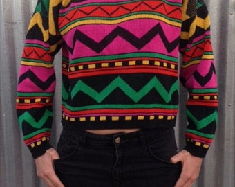 80s-90s geometric sweater Made in USA Rebel Yell