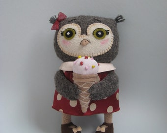 Handmade Plush Owl. Owl With Ice-cream. Soft Art Creature Toy.