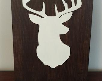 Deer Head Silhouette Hand Painted.Wall Art.Man Cave Wall Art.Wood Sign Deer Head.Rustic Wood Sign.Hunting Wood Sign.Wood Sign.Deer Head.
