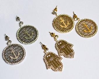 Womens pendant filigree EARRINGS with strass, hand of Fatima, HAMSA, ANCHOR