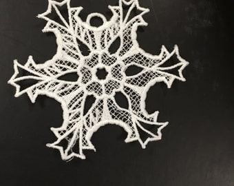 Battenburg snowflake Lace Ornament great for Christmas, winter decorations, attaching to clothing Style B