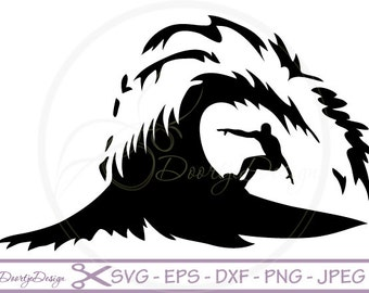 Sea Surf Wave SVG cutting files, SVG files for cricut, Surf cutting files, Surfer, instant download, EPS files, files for silhouette