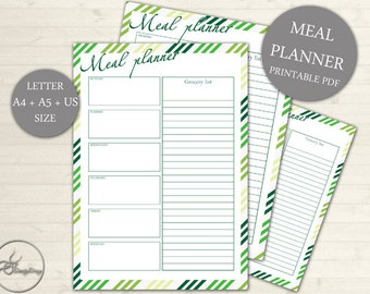 Weekly Menu Plan, Printable Meal Schedule, Meal Planner Printable, Shopping list, Desk Planner, A4, A5 US Size, INSTANT DOWNLOAD #103