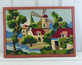 Vintage French tapestry, needlepoint, windmill tapestry.