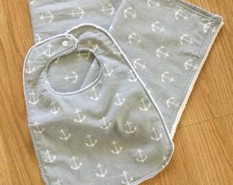Grey/white anchor print burp cloth and bib set