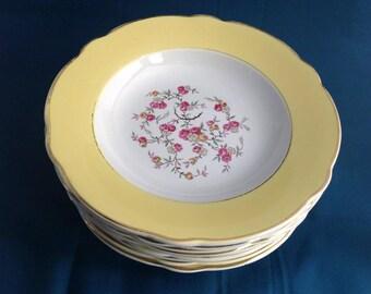 9 old plates LUNÉVILLE porcelain France Sylvère