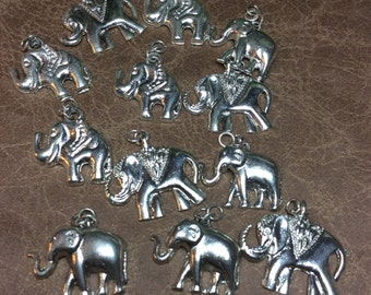 Elephant charms silver 12 pieces