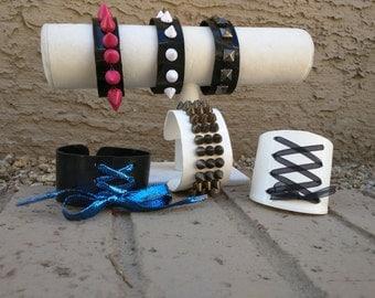 Corset or studded vinyl bracelet