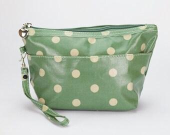 Medium Makeup bag- Oilcloth Cosmetic pouch- Oil cloth Makeup case - Ladies Beauty pouch - Cosmetic Zipper bag- Beauty purse- Green Polka dot