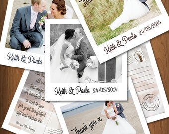 Polaroid Style Wedding Thank You Cards and envelopes x 100 (Personalised)